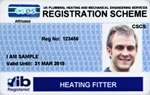 Heating Fitter Blue Registration Card