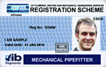 Mechanical Pipe Fitter Blue Registration Card